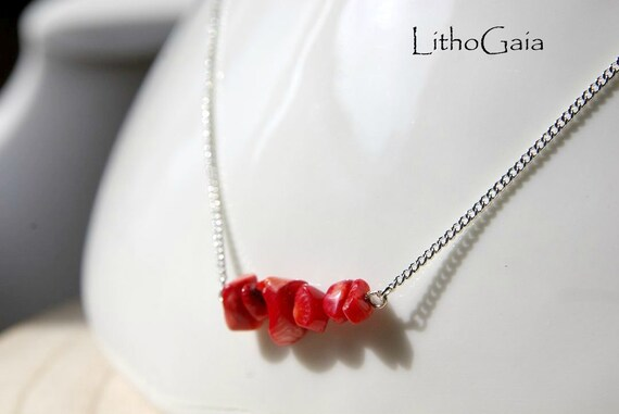 Coral Bar necklace, 925 Sterling Silver, Coral Gemstone Bar, birthstone necklace, Coral jewelry, Minimalist, Gift for Her, Zodiac Necklace