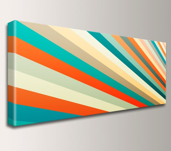 "Mid Century Art Ultra Wide Canvas Panoramic Art Retro Decor Modern Art Teal Orange Yellow Stripes Canvas Print Modern Wall Art ""Daybreak"""