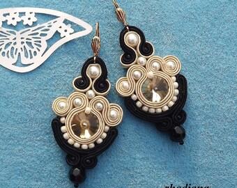 Crystals  Cream & Black  earrings