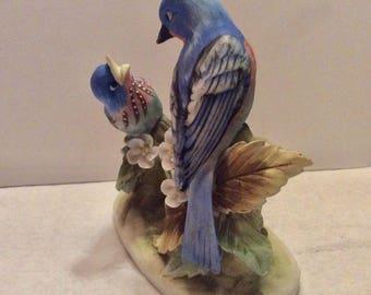 Lefton China bluebirds fine porcelain figurine. Momma bird feeding baby.