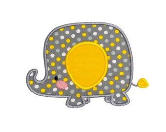 Soft gray and yellow boxy elephant zoo animal machine embroidered  iron on patch for kids clothing, quick shipping appliques