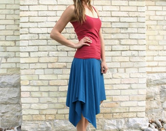 Lightweight Organic Cotton Mid Length Asymmetrical A-Line Skirt - Fun Summer Pixie Fairy Skirt - Made to Order in 25 Colors, Any Size