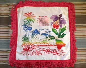 Hawaiian Islands WWII Pillow, To Mom and Dad Fringed Pillow case, Military Memorabilia, Wartime Memento Souvenir, From Son to Parents