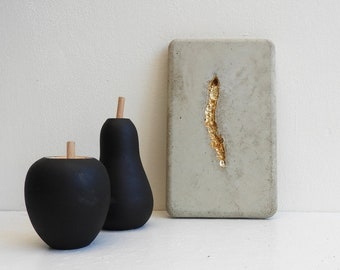 Wall hanging concrete style wabi-sabi aesthetic - concrete with gold leaf painting - contemporary and minimalist decor