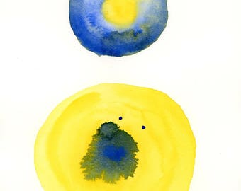 Round and Round 3 Abstract Watercolor Painting