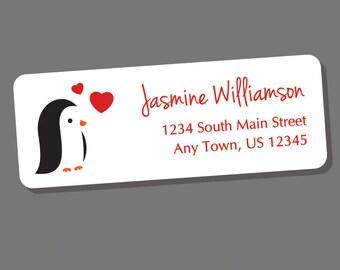 Penguin Address Labels, Return Address Labels, Address Stickers, Penguin Labels, Personalized Address Labels, Animal Address Labels, Custom