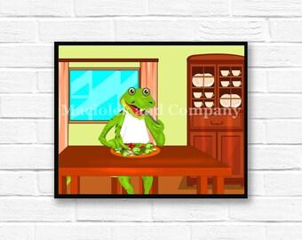 Iguana, Children's Book Art, Wall Art, Nursery Room Art, instant download, digital print, digital art, 8x10