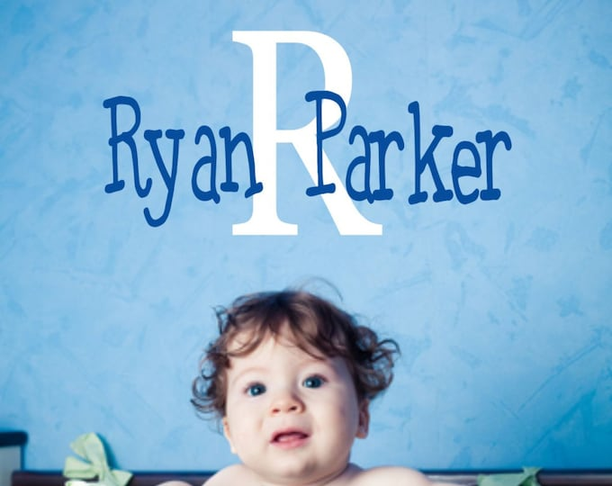Wall Decal Nursery - Name Wall Decal - Boys Name Vinyl Wall Decal - Childrens Wall Decals - Monogram Wall Decal