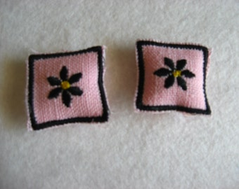 Black Daisies on Pink Linen Mini Miniature Accent Pillows for your one inch scale dollhouse