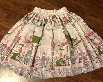 50s Novelty Border Scenic Print Skirt Vintage Cotton Pink Train XS Petite