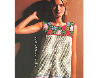 Womens Crochet Top Pattern Vintage Granny Square Smock Top Crochet Pattern Tunic  Beach Cover Instant Download PDF Pattern Size 8 to 16- C64