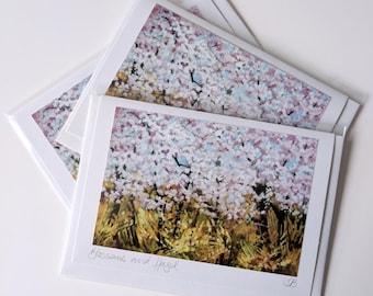 Blossoms and Hazel | greetings card | hand made | handmade | landscape | flowers | blossoms | spring | flower card | cherry blossom