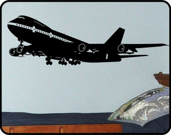 Airplane Wall Decal vinyl sticker - Boeing 747 airliner jet  - 6ft long! Available in smaller size too!