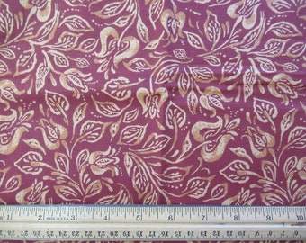 Mustard Yellow Leaf on Brown Background - 1/3 Yard    Br-1/3-9
