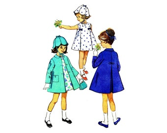 1960s Little Girls Dress Coat Hat Simplicity 5337 Vintage Sewing Pattern Size 3 Breast 22