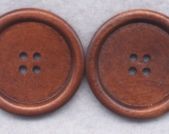 Brown Wood Buttons Wooden Buttons 40mm (1 5/8 inch) Set of 4/BT515