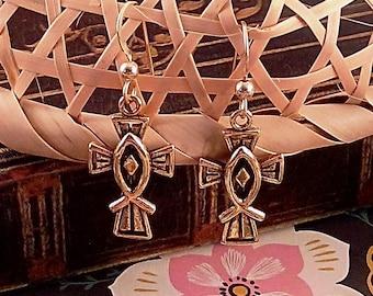Handmade Pewter Cross & Gold Filled Earrings