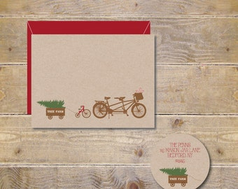Christmas Cards, Tandem Bikes, Tricycle, Christmas Tree, Holiday Cards, Christmas Card Set, Bike Christmas Cards, Wagon, Christmas, Handmade