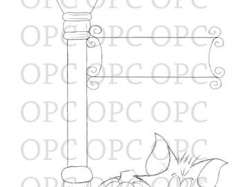 Digital Stamp Trash Cat's Lamp Post
