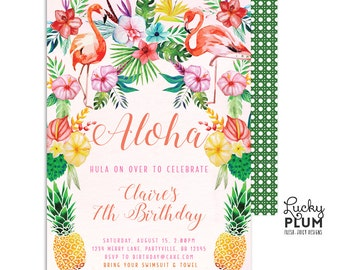 Luau Birthday Invitation / Tropical  Birthday Invitation / Flamingo Pineapple / First Birthday Invitation / Digital Printable TP02