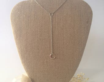 Silver Half Moon Lariat Y Necklace - Drip Necklace - Silver Chain - Hippie Bohemian Jewelry - Adjustable Choker - Celestial - Crescent Moon