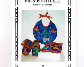 1998 Quilted Booties, Shoes & Bib Sewing Pattern, Sizes 6 - 12 Months, Easy To Sew, Lisa Girard Design
