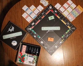 Custom Monopoly Board Game Bundle (with custom box and custom pieces)