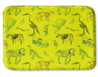 Animal Skeletons Lime-Yellow Bath Mat