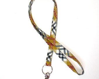 Lanyard Preppy Plaid ID badge holder