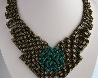 Right Angle Weave Cubic RAW Beadweaving geometric necklace Bronze Beadwork necklace Seed bead necklace Beadwoven necklace Beadwork gift