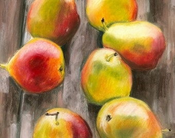 Still Life Painting, Original Painting, Pears, Fruit, Home Decor, Pastel, Loose, Abstract, Pears On Deck