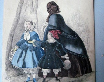Antique Les Modes Paris Fashion Print Childrens fashions