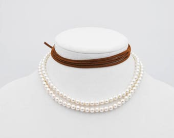 Pearl Necklace, Wrap Necklace, Pearl Choker, Pearl Wrap, Suede Wrap, Boho Chic Wrap, Boho Wrap, Faux Suede Wrap, Bohemian Necklace, Brown