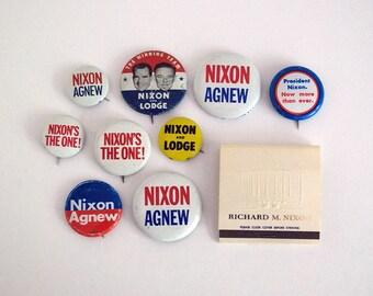 Nixon Campaign Button, 1960s Political Collectible, Republican US President Pin, Agnew Lodge Jugate 1960 1968 Pinback, White House Matchbook
