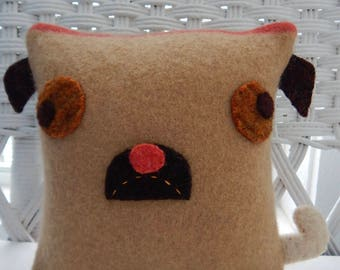 Recycled Cashmere Sweater Pillow - Pug in Tan