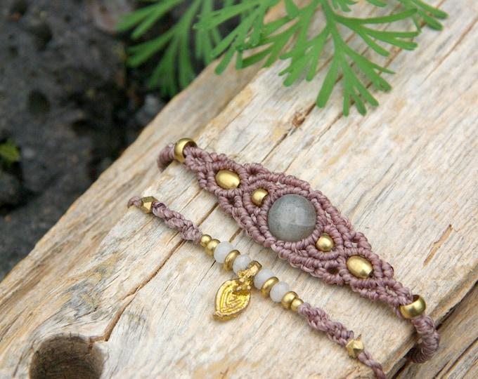 Kit 2 macrame bracelets, with labradorite and agates, amulet, gift for her, talisman stone, adjustable, nickel free, talisman, free shipping