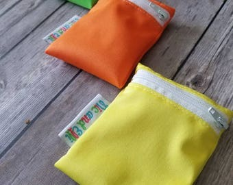 Mini Wetbag Soother Bag Set of 3 ~ Travel Size Wet Bag ~ Binky Bag ~ Cosmetic Purse Bag