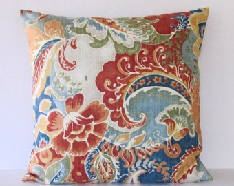 Paisley Pillow, Floral Pillow, Multi Color Pillow Cover, Burnt Orange Pillow, Decorative Throw Pillow, Blue Green Orange Tan, Zipper Pillow