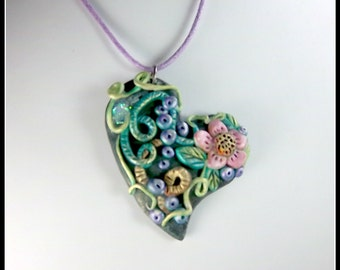 Floral Heart Pendant, Multi Colored Pendant, Pink Flower, Purple Berries, Pastel Colors,  Wearable Art Pendant,   OOAK Floral Pendant