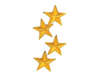 Yellow Stars Iron On Applique, Yellow Stars Iron on Patch, Stars Applique, Fun Patch, Kids Patch, Embroidered Patch