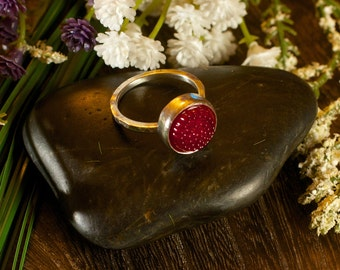 Red Tobiko Silver Ring-button ring made to order