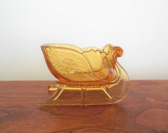 Amber Glass Christmas Sleigh Small Gold Yellow Holiday Candy Container Nut Dish Santa Claus Sled