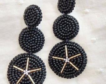 Matte Black Beadwork Statement Earrings: bold earrings, beadwork earrings, seed bead earrings, black earrings, round earrings, studs, matte