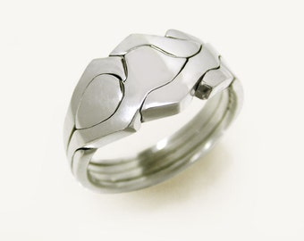 ROBOT - Unique Puzzle Rings by PuzzleRingMaker - Sterling Silver or Gold - 4 Bands