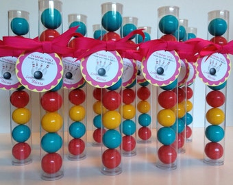 Bowling, bowling Party, Bowling Pink, Turquoise and Yellow Gumball Tube Party Favors, Personalized Layered Tags, Grosgrain Ribbon, Set of 12