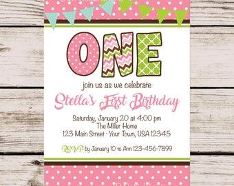 First Birthday Party Invitation, Girl's First Birthday Invitation, Printable Invitation, Pink Green Invite, Invite, ONE Invitation