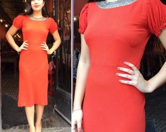 Vintage 1930s Orange-Red Crepe Dress with Beaded Neckline