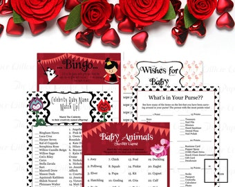 Alice in Wonderland-Baby Shower Game Set 01-BABY-DIY-Printable Games-Celebrity Baby Name-Bingo-Wishes-Baby Animals-What's in Your Purse