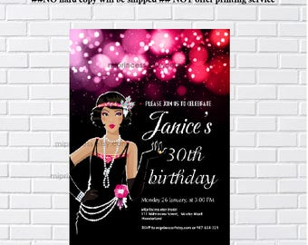 1920s, 1920s Flapper, birthday invitation, for any age, Glamour Party, vintage party, invitation Card Design - card 1217