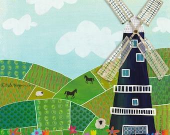 Ländliche Windmühle Kunstdruck/Poster
